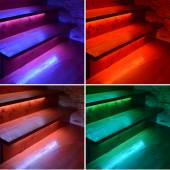 Collage of colored illuminated wooden stairs — Stockfoto