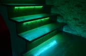 Illuminated wooden stairs — Fotografia Stock