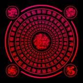 Red runes on black background — Stock Photo
