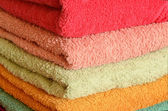 Stack of colorfull towels — Stock Photo