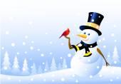 Snowman & Christmas Bird — Stock Vector