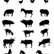 Farm Animals Silhouette Set — Stock Vector #53065519