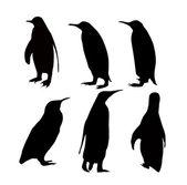 Penguin silhouette Set — Stock Vector