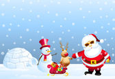 Santa,Snowman,Snow Deer & Igloo — Stock Vector