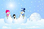 Igloo & Snowman Family — Stock Vector