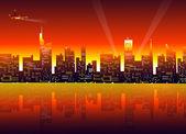 Stad nacht — Stockvector