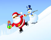 Santa & Iceman Skating with Christmas Gifts-Vector — Stock Vector