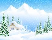 冬季景观矢量 — 图库矢量图片