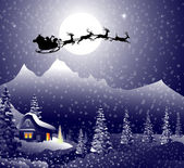 Santa's sleigh on Christmas Night — Stock Vector