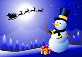 Iceman & Santa in Christmas Night-Vector — Stock Vector