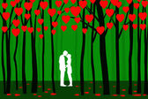 Young Lovers at Valentine Forest — Stock Vector