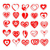 Red Artistic Hearts-Vector — Stock Vector