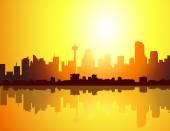 Calgary Morning city skyline-vector — Stock Vector