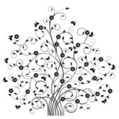 Floral Pattern Tree and Butterflies-vector — Stock Vector