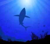 Shark & Under the Sea-Vector — Stock Vector