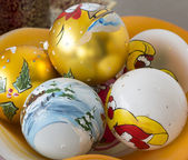Decorative christmas balls hand painted with winter scene — Stock Photo