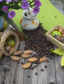 Almonds, nuts and coffee — Stock Photo