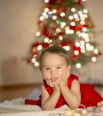 Little girl waiting for Santa Claus — Stock Photo