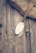 White wheat in a spoon and seeds — Zdjęcie stockowe