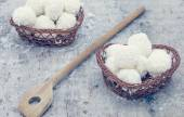 Arrangement of coconut cookies — Stock Photo