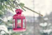 Lamp and snow and Christmas tree — Foto de Stock