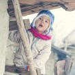 Baby climbing up the ladder — Stock Photo #63104853