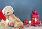 Christmas decoration with old bear, balls and lamp — Stock Photo