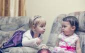 Two little girls chatting — Stock Photo