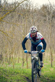 Garboavele, Galati, Romania , April 4, Unidentified cyclists during the annual Garboavele XC cycle race on April 4, 2015 in Garboavele, Galati, Romania — Stock Photo
