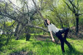 Young woman lying on a tree in spring — Stock Photo