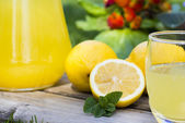 Close Up of Fresh lemonade with mint — Stock Photo
