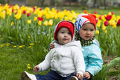 Two little girl with tulips in background — Stock Photo