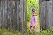 Two year-old toddler girl is  opening wooden wicket gate — Stock Photo