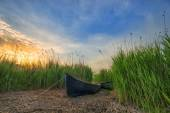 Old fishers boat near a lake — Stock Photo