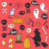 Halloween doodles set. — Stock Vector