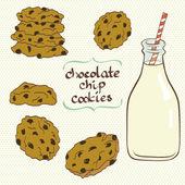 Melk en koekjes. — Stockvector