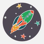 Doodle rocket. — Stock Vector