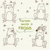 Doodle frogs. — Stock Vector