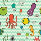 Sea dwellers pattern. — Stock Vector