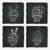 Doodle cupcakes. — Stock Vector