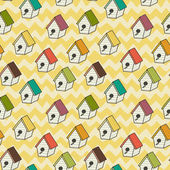 Birdhouses pattern. — Stock Vector