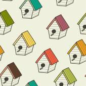 Doodle birdhouses. — Stock Vector