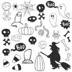 Halloween doodles with cartoon ghosts. — Stock Vector #53065505