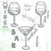 Wine glasses. — Stock Vector