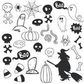 Halloween doodles with cartoon ghosts. — Stock Vector