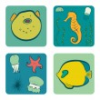 Set of hand drawn cartoon sea dwellers — Stock Vector #59286707
