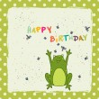 Birthday card with happy cartoon frog — Stock Vector #59286823