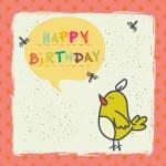 Birthday card with bird — Stock Vector #59289009