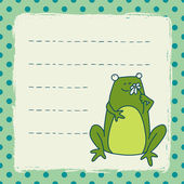 Card with cartoon frog with flower — Stockvector