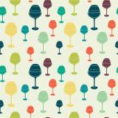 Pattern with colorful wine glass — Stock Vector